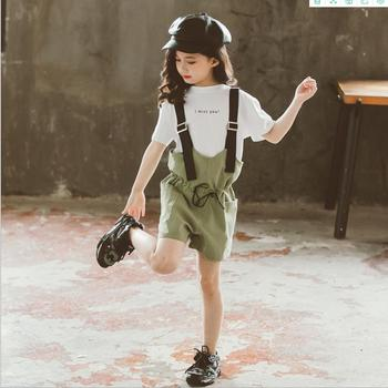 Fashion tops + jumpsuit 2pcs sets 2020 spring aummer new short sleeve tees shorts children suits girls stes 4-14Y ws1505