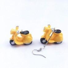 Creativo hecho a mano 4 colores Mini motocicleta gota pendientes para las mujeres niñas moda Vintage divertido Motro pendientes colgantes Brincos