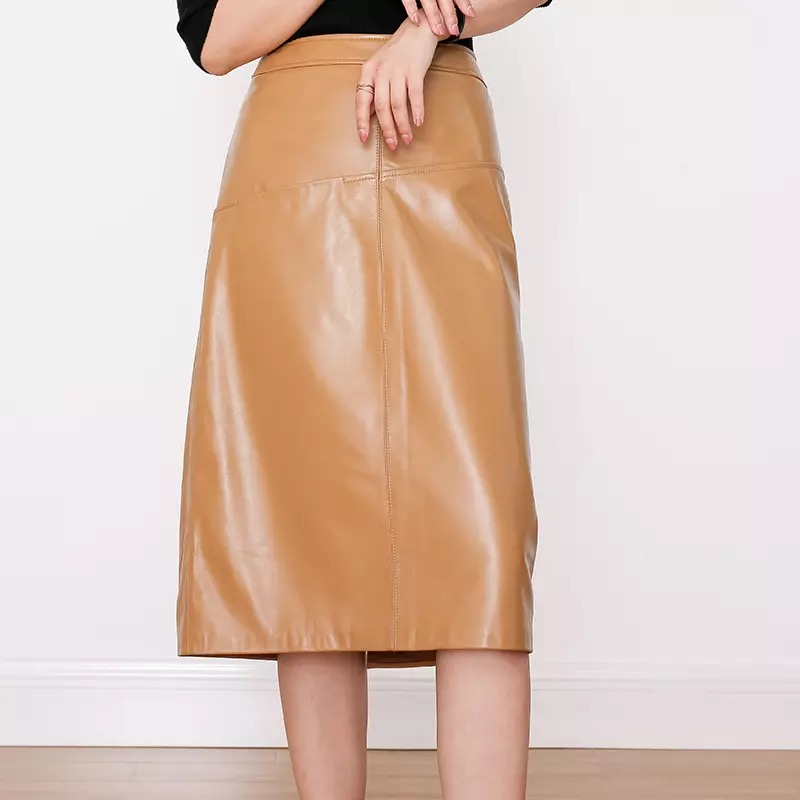 Leather skirt women plus size long skirt winter autumn 2019 fashion a line khaki and black sheepskin leather skirts womens image