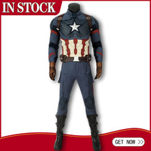 In Stock Avengers 4 Endgame Costume Captain America Steven Rogers Cosplay Jumpsuit Adult Men Superhero Halloween Carnival Outfit(China)