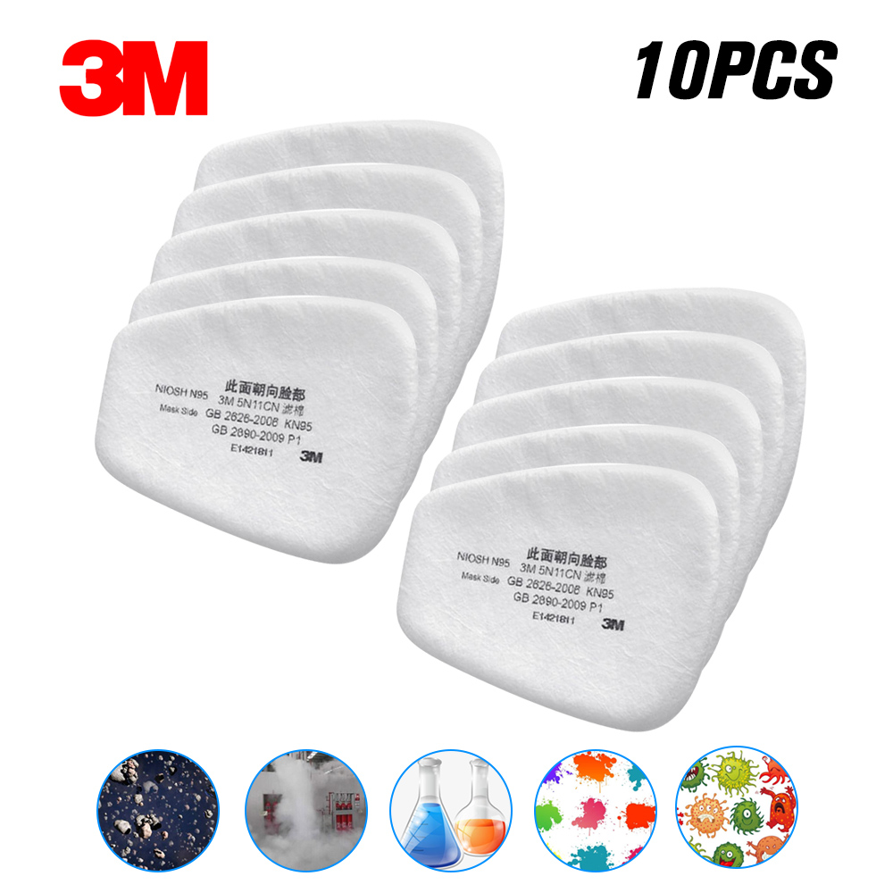 Filtro de algodón respirador 10/20/50/100 Uds 3M 5N11 antipartículas para 6200/7502/6800