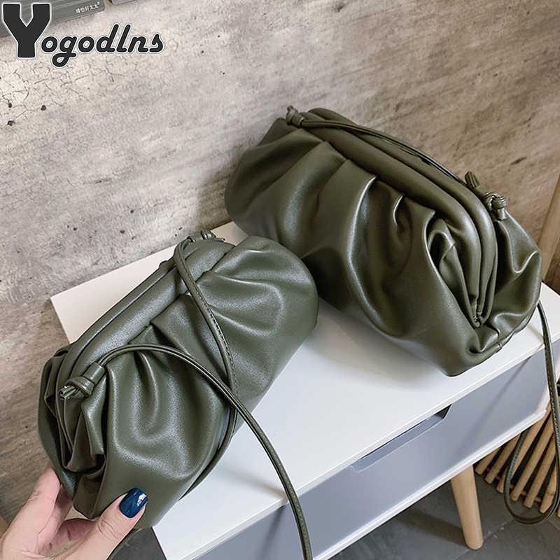 Warna Solid Elegan Cloud Tas Selempang untuk Wanita 2020 Small Perempuan PU Tas Tangan dan Tas Wanita Bahu Messenger Tas