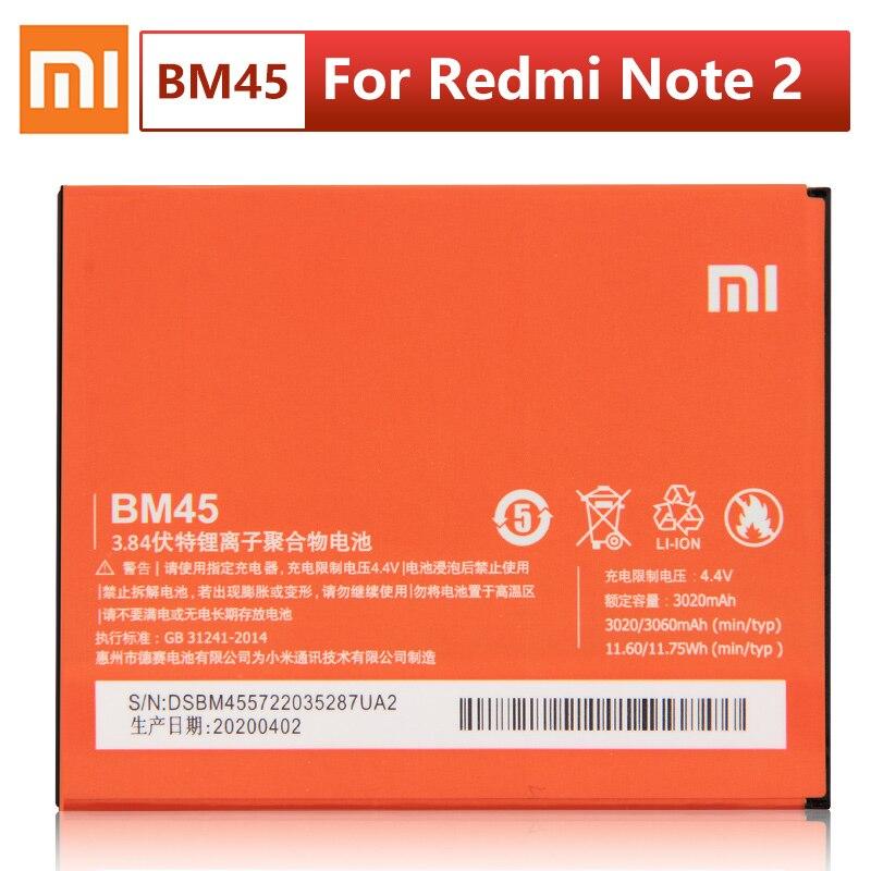 Оригинальный сменный аккумулятор XIAOMI BM45 для Xiaomi Mi Redmi Note 2 Redrice note2 Аутентичные Аккумуляторы для телефонов 3060 мАч