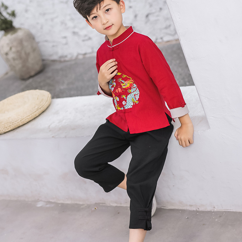 Children Chinese Clothing Autumn Chinese-style Childrenswear Cotton Linen Long Sleeve Skinny Pants 【xiu】 Crafts Long BOY'S Chine
