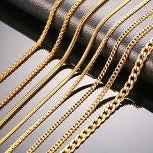 Золотой цвет, женские и мужские ожерелья-цепочки из нержавеющей стали, цепочка с плоским звеном змеи, 24 дюйма, ширина 3 мм, 4 мм, 6 мм