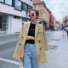 Autumn fashion long sleeve womens suit High quality vintage loose large size blazer Double-breasted yellow plaid office jacket