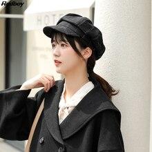 Женская осенняя и зимняя Кепка в Корейском стиле, британский морской комплекс Gubei Lei, шапка, зимняя теплая шерстяная клетчатая кепка newsboy