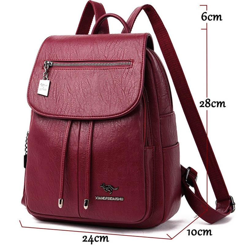 Image 3 - High Quality Women Leather Backpacks Female Shoulder Bag Sac a Dos Travel Ladies Bagpack Mochilas School Bags For Girls Preppy-in Backpacks from Luggage & Bags