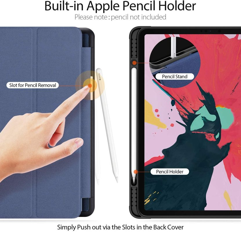 For iPad Pro 12 9 2020 Case Pencil Holder Smart Trifold Case Cover Auto Sleep Wake