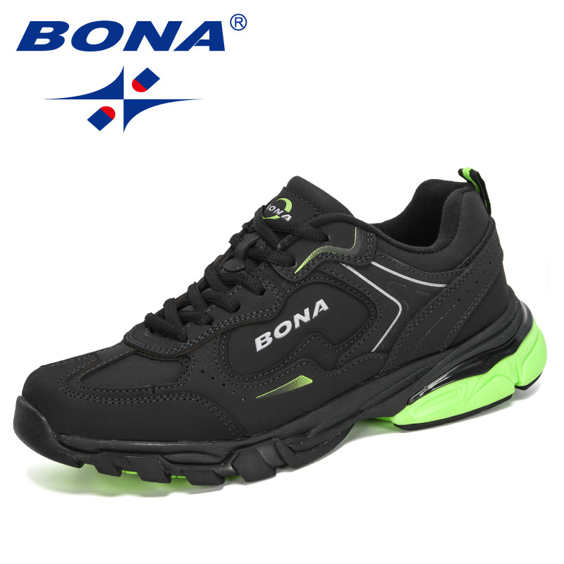 BONA 2020 New Style Cow Split Men Running Shoes Outdoor Sports Shoes Zapatos Comfortable Athletic Male Sneakers Jogging Footwear