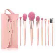12pcs Make Up Brush Set With Bag Pink Handle Delicate Makeup Brushes Powder Foundation Contour and Eye Brushes 2020 NEW T12090 new coastal scents 22 pieces makeup brushes make up brush set eyeshadow contour powder contour cream brush tools dhl free shipp