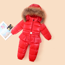 2019 GIRL Winter Jumpsuit 90% goose down russian warm winter jackets girls infant Clothes Girls Climbing For girls 2-5t Jumpsuit girls winter 90