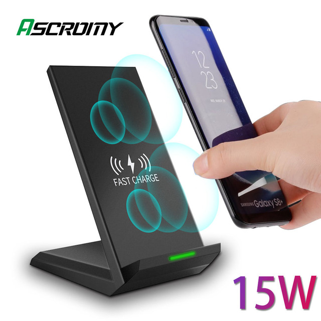 15W Chargeur Rapide Sans Fil Qi Pour Samsung S10 9 plus Note10 iPhone Xr 11 Pro Max 8Plus HUAWEI P30 Pro Xiaomi Mi9 Station De Recharge
