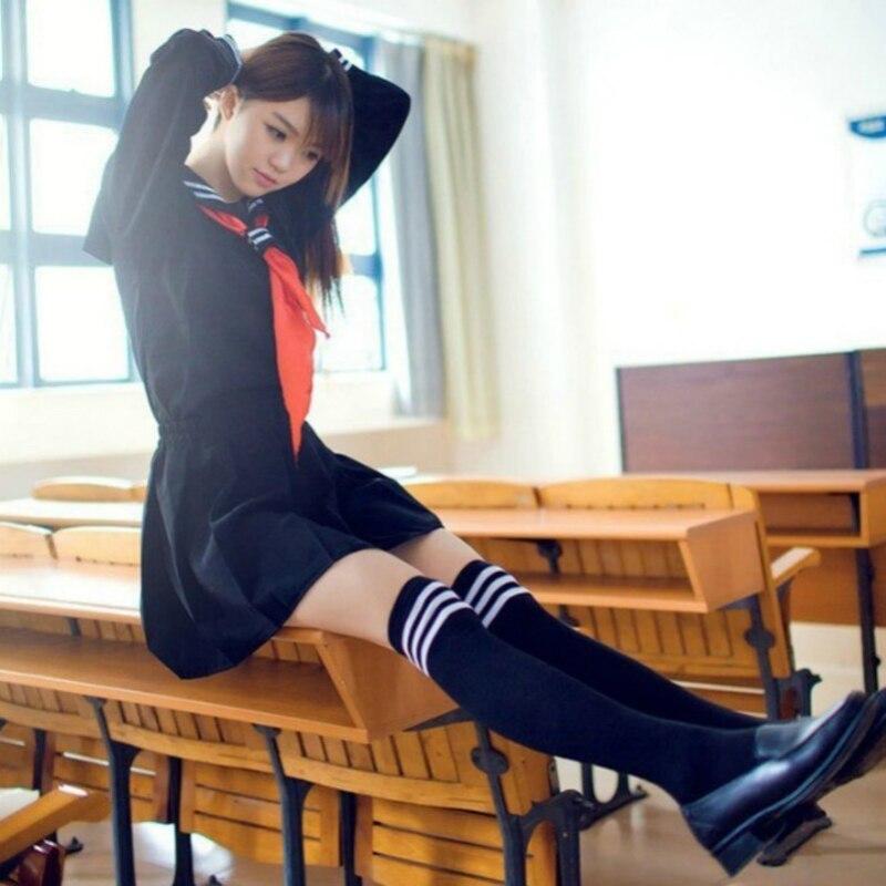 Image 5 - 2PCS High end JK Uniform For Girls Japanese Korea Tops+Skirt+Tie School Wear Uniform Student Sailor Black White Suit C30153AD-in School Uniforms from Novelty & Special Use