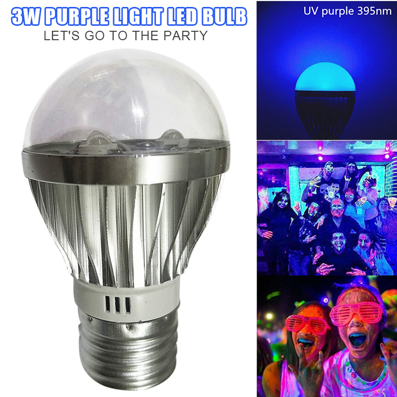Ultraviolet LED UV Light Bulbs Purple Lights 3W for Party Club 395nM CLH@8