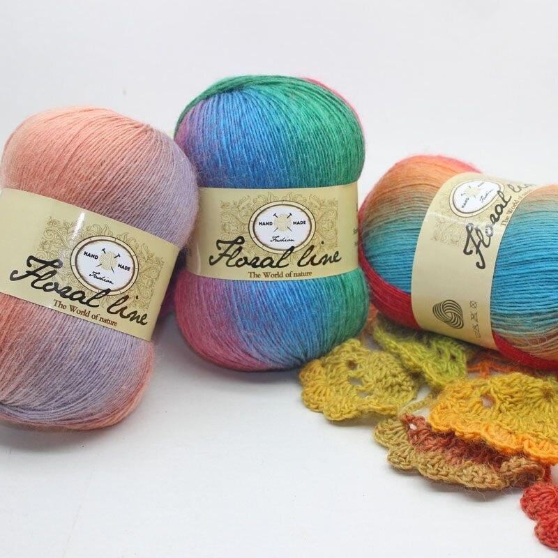 Wholesale Yarn 18pcs X 100g Rainbow Line Fancy Melange Yarn 100% Cashmere Wool Yarn knitting 20 Colors High Quality