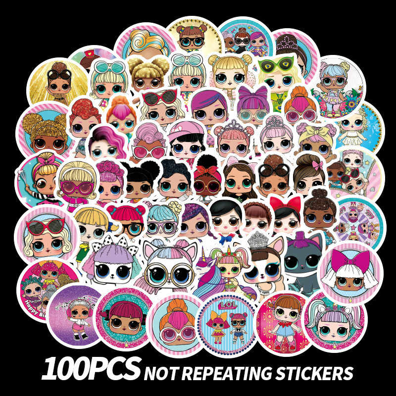 100 sheets LOL surprise doll cartoon cute mini sticker PVC graffiti sticker suitcase luggage guitar car stickers waterproof