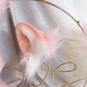 Image 2 - 新しいピンク猫耳コスプレカーニバルゴシックロリータアクセサリ髪フープ帽子ガール女性子供手作業