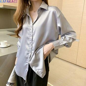 KAFAKACE 2020 Blouses Shirts Plus Size Women Basic Solid Casual Long Sleeve Rayon Office Lady Autumn Clothing