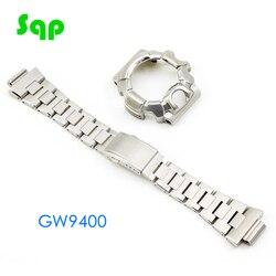 Argento Set GW9400 Orologio Modifica Cinturino Lunetta/Cassa del Metallo 316L Cinturino In Acciaio Inox