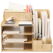 File Sorter 4 Tier Wooden File Document Organizer Document Sorter Tray Holder A4 File Rack with Pen Holder Desk Organizer 3 layers moving document file tray holders desk set book holder organizer a4 office school supplies desk accessories