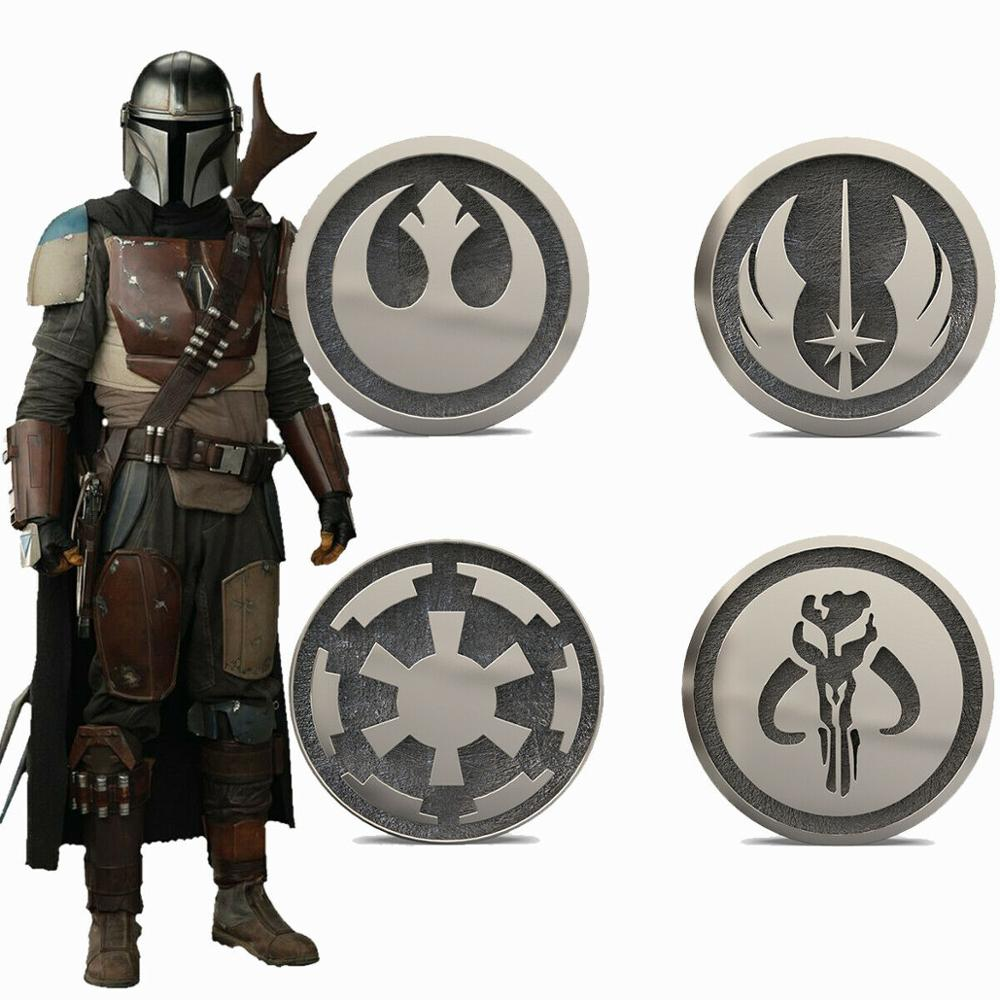 Coslive Star Wars 9 The Mandalorian Badge Jedi Pin Brooches With Box 4pcs Cosplay Collection Costume Props