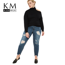 Kissmilk Plus Size Woman Clothes Stand-up Unilateral Off-The-Shoulder Knit Long Sleeve Pullover все цены
