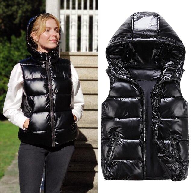 Women Winter Vests Hooded 2020 New Short Bright Color Vest Cotton Padded Jacket Sleeveless Female Winter Waistcoat Vest 1