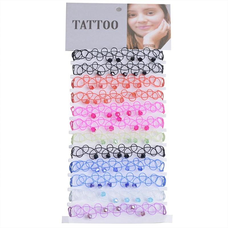 12 pcs/Set Fishline Tattoo Black Crystal Bracelets Vintage Stretch Henna Gothic Punk Elastic Hollow Wristbands Women Jewelry 4.9