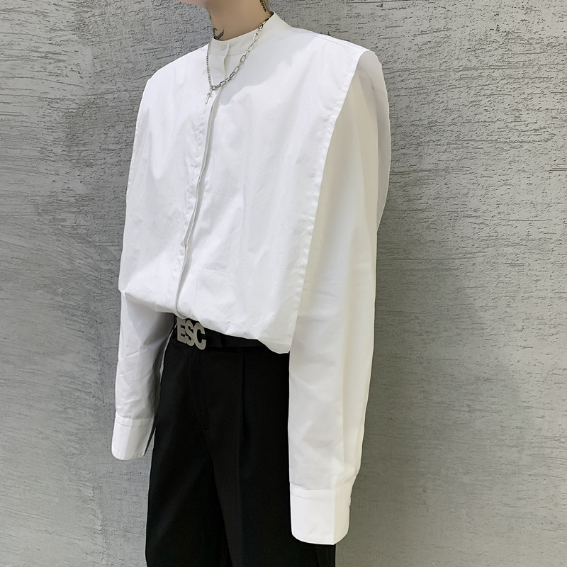 Men White Stand Collar Wide Shoulder Long Sleeve Casual Shirt Male Japan Streetwear Fashion Loose Dress Shirt Stage Clothing