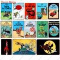 Tintin Catoon металлическая табличка для фильма, винтажный настенный художественный постер, железный постер для рисования, кофейная детская комн...