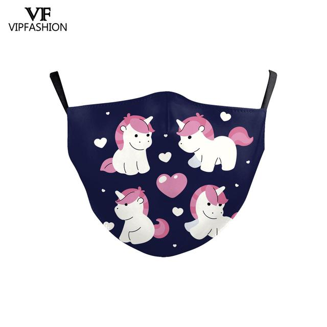 VIP FASHION Reusable Children's Cartoon Anime Unicorn Cute Printed Kid Face Masks Protective PM.25 Dustproof Haze Mask 2