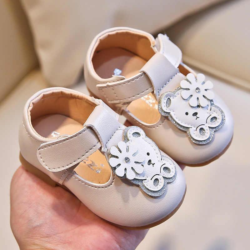 2020 אביב סתיו קטן בנות נעל T רצועת עור תינוק נעלי דוב בלינג נסיכת נעלי ילד פעוטות שאינו להחליק דירות 0-5y