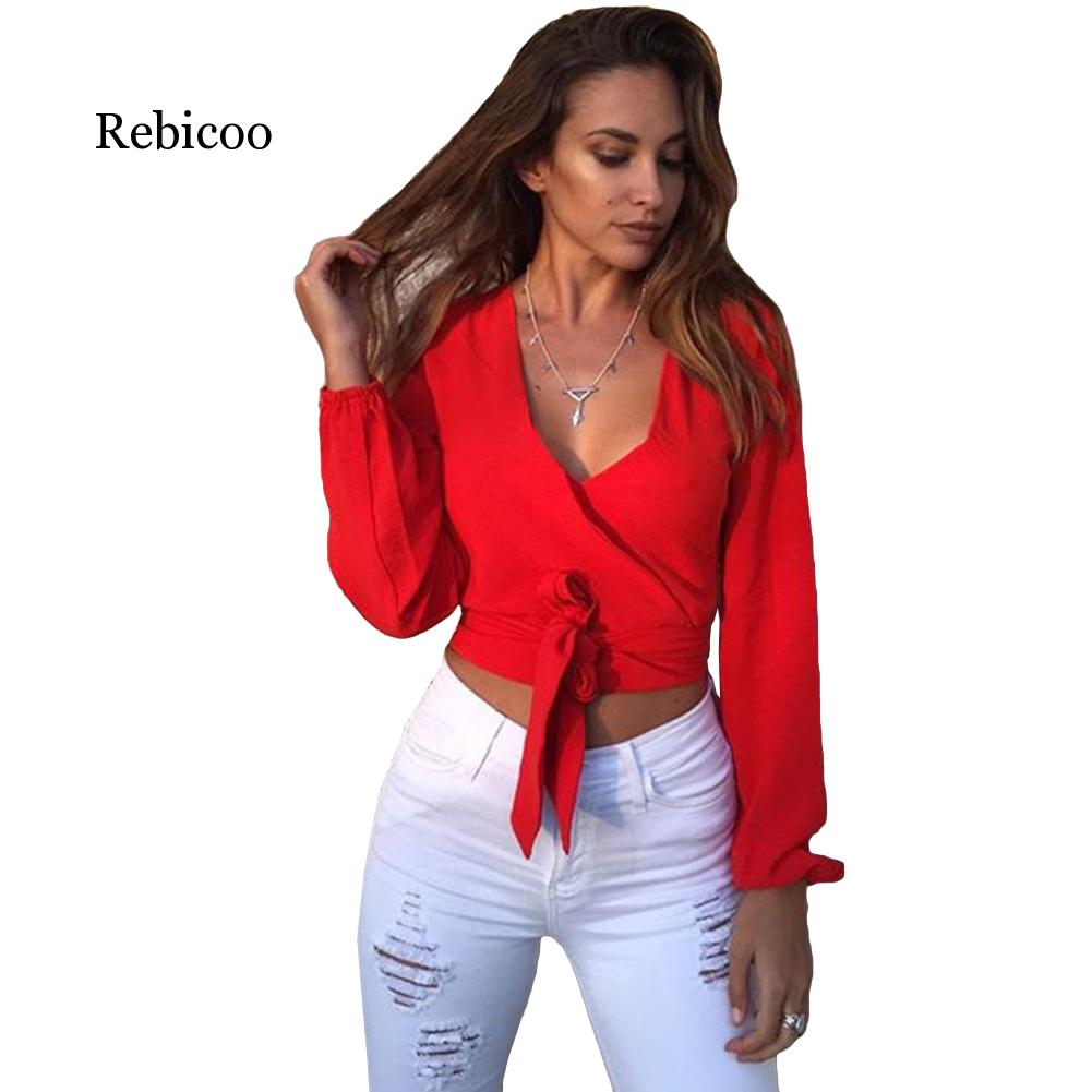 2019 fashion womens tie deep V-neck long-sleeved sexy openwork shirt 4 colors