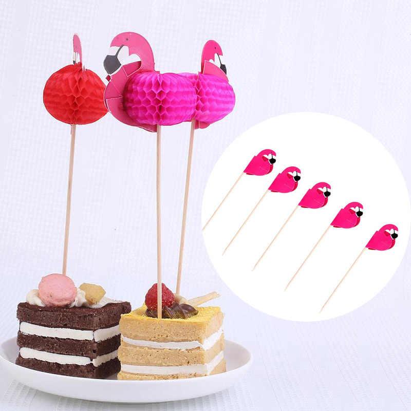 Drapeau cure-dents flamant cure-dents fruits rouges bois + papier alimentaire choix créatifs désherbage jetable Bar Party