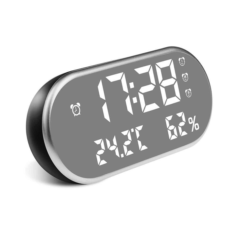 Electronic Mirror Alarm Clock with LED Display and Backlight for Desk Along with Temperature and Humidity Display