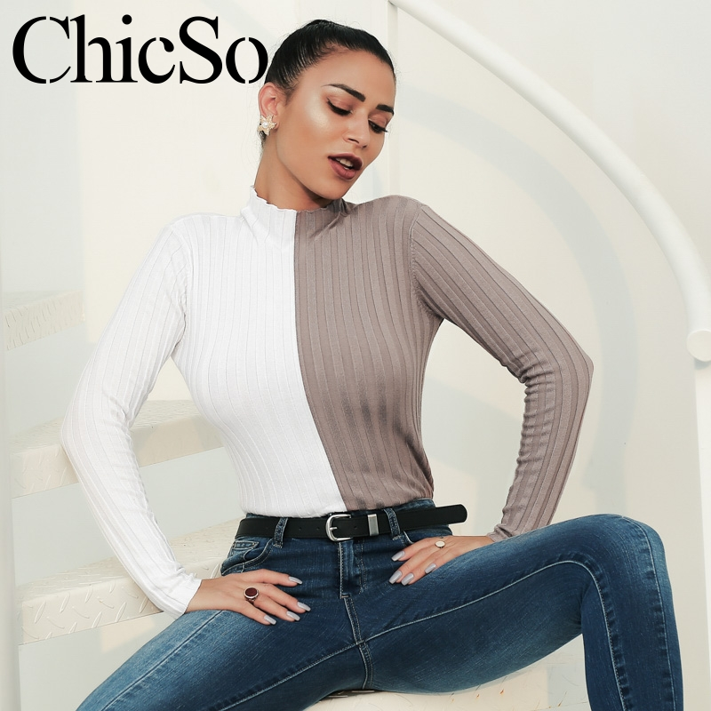 MissyChilli Patchwork Casual Turtleneck Sweater Women Autumn Winter Long Sleeve Slim Pullover Female Knitted Warm Sweater Jumper