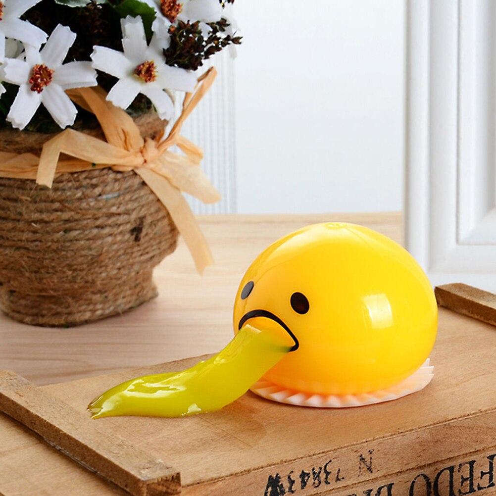 Cysincos nova venda squishy vomitive gema de ovo alívio do estresse presente divertido amarelo ovo preguiçoso piada brinquedo bola ovo espremer brinquedos engraçados