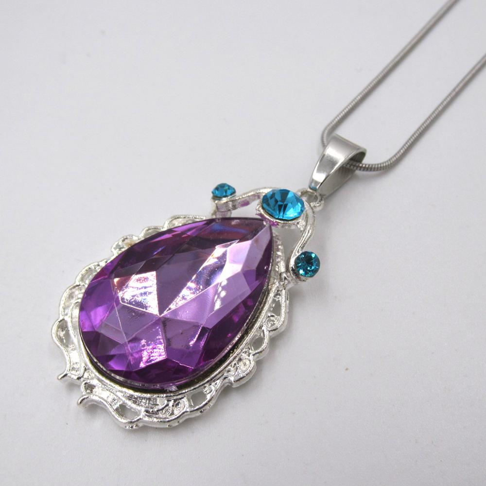 Cute Baby Gift 3*4.8CM Alloy Princess The First Purple Teardrop Amulet Pendant Necklace Kid Girl Stainless Steel Chain Necklace|Pendant Necklaces| - AliExpress