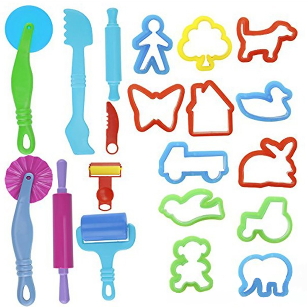 20pcs Children Clay Tool Set Mold Kids Toy DIY Gift Color Mud Kit Dough Handmade Roller Animal Shape Create Creativity Art