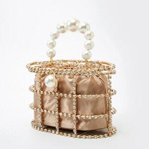 Image 3 - 진주 바구니 저녁 클러치 백 여성 2019 여름 할로우 다이아몬드 구슬 합금 금속 핸드백 여성 패션 파티