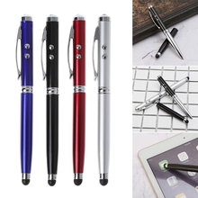 4 in1 Capacitive Stylus iPad Touch Screen Ballpoint Pen LED Light Laser Pointer цена 2017