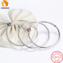 Pure 925 Sterling Silver snake chain Bracelet & Bangles for women,s925 purple crystal heart bracelet silver Jewelry ZY16