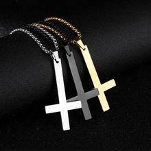 Fashion Stainless Steel Inverted Cross Pendant Necklace Satan Punk Jewe