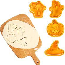 4pcs/set Halloween Cookie Mould Biscuit Stamp 3D Cookie Plunger Cutter DIY Baking Mould Cookie Cutters For Kitchen Tools easter rabbit bunny chick radish mould diy cake biscuit cookie cutter baking tools