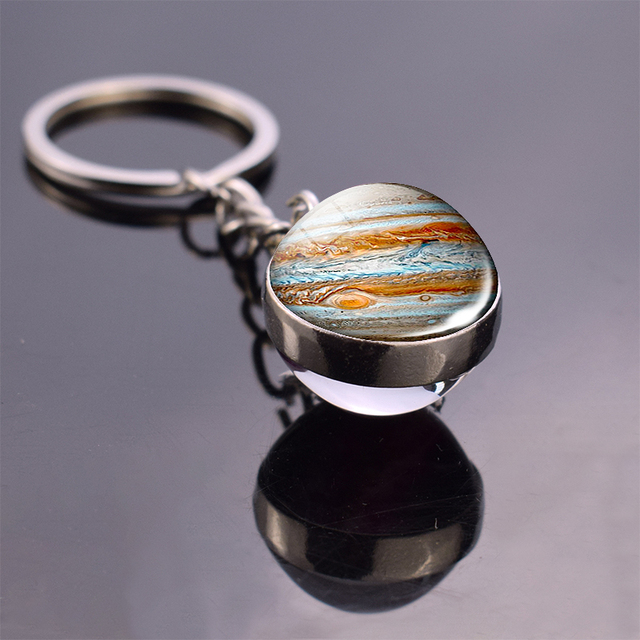 Earth Moon Keychain Galaxy Solar System Planet Glass Ball Pendant Keyrings Universe Sun Jupiter Double Side Glass Ball Jewelry 3