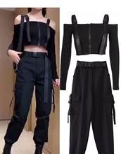 Women Suits Casual Clothing Sexy Full sleeve Knitted Sweathers Pants 2 Piece Vogue Sling Top and Belt Pants Set Street Wear(China)
