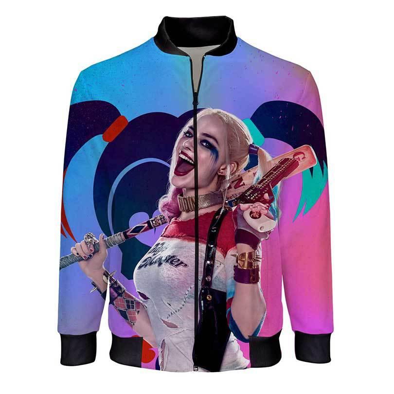 Harley Quinn 3D Print Zipper Hoodies Sweatshirt Jacket MenWomen Sports Coat Tops
