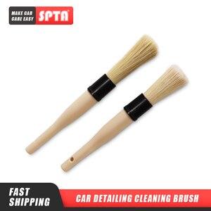 Image 1 - SPTA Car Detailing Cleaning Brush Wooden Handle Bristle Brush Versatile Cleaning Tools for Door Handle, Steering Wheel, Tire