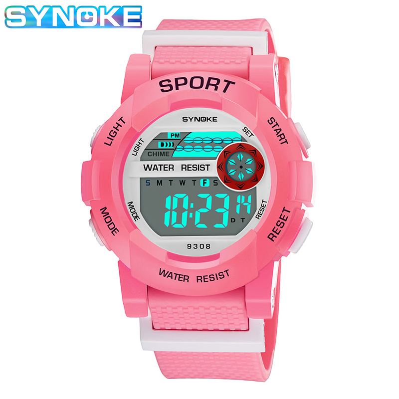 SYNOKE Boys Girls Watches Kids Digital PU Strap Stop Watch LED Display Alarm Features Student Wristwatches 2019 Cocuk Saatleri